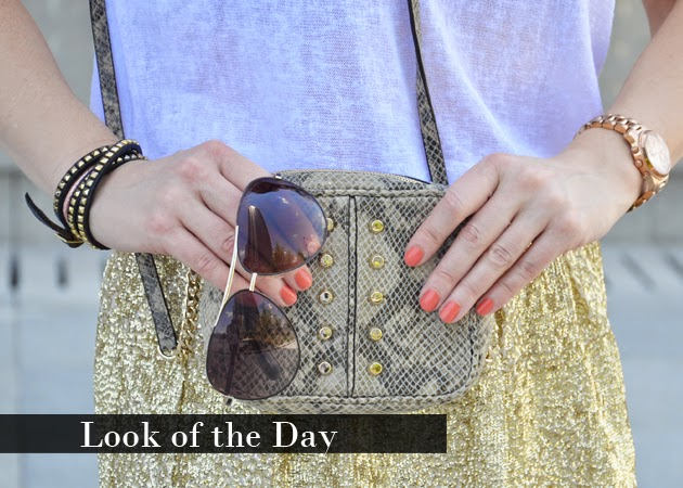 Look of the Day: Gold Squins Skirt